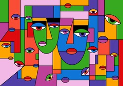 Abstract portrait. Two faces, colorful background cubism art style. Texture with women portraits for print, contemporary fashion design