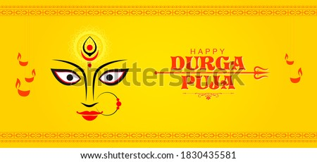 Abstract Poster/ Banner design for Celebration of Indian Religious Festival Happy Durga Puja or Shubh Navaratri with symbol of Goddess Maa Durga Face - Vector Illustration. Stockfoto ©