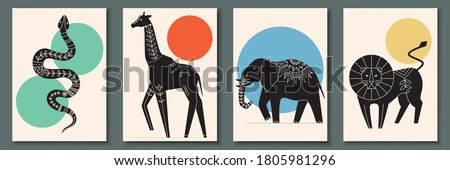 Abstract poster collection with animals and reptiles: snake, giraffe, elephant, lion. Set of contemporary scandinavian print templates. Ink animals with floral ornament and geometrical shapes on back