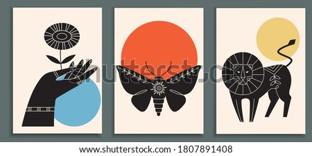 Abstract poster collection with animals, insects, hand holding flowers. Set of contemporary scandinavian art print templates with lion and moth. Ink animals with floral ornament and geometrical shapes