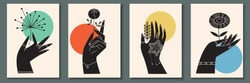 Abstract poster collection with hand holding flowers, insects, reptilies: bug, snake. Set of contemporary scandinavian print templates. Ink animals with floral ornament and geometrical shapes on back