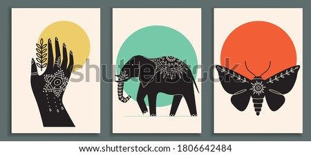 Abstract poster collection with mehendi hand, animals and insects: elephant, moth. Set of contemporary scandinavian art print templates. Ink animals with floral ornament and geometrical shapes on back Stock photo ©