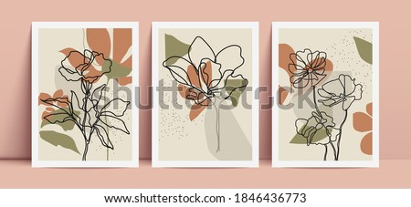 Abstract poster design. Floral line art on geometric shapes background. Contemporary wall decor. Foto stock ©