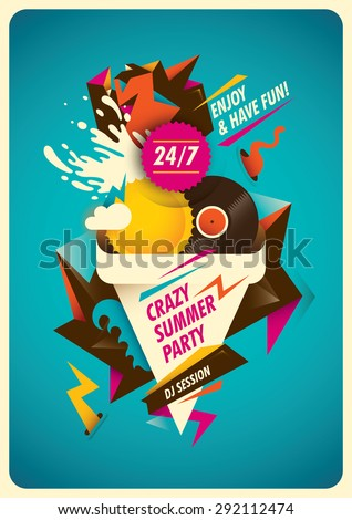 Abstract poster design for summer party. Vector illustration.