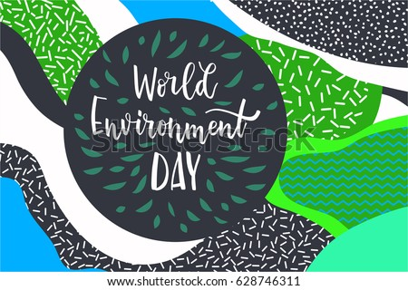 Abstract poster. Modern style trends. Vector illustration. Blend of abstract, vaguely organic shapes.  1980 - 90s style. World environment day lettering Inscription background. Vector illustration.