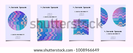 Stock Photo Abstract poster set for music event with glitched screen texture in pink and purple pastel colors.