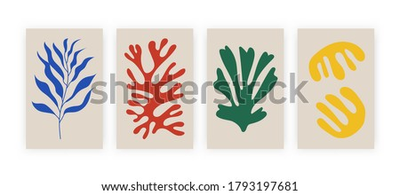 Abstract posters with organic shapes. Contemporary collage Matisse inspired, set of botanical elements. Vector illustration.