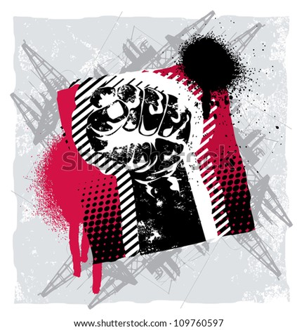 Abstract Power fist in the air grunge design