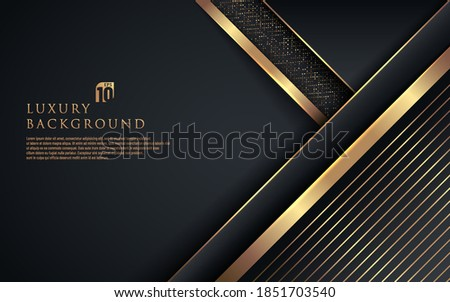 Abstract premium black geometric overlap layers with stripe golden line and glitter lighting on dark background. Luxury and elegant background with copy space. Vector illustration