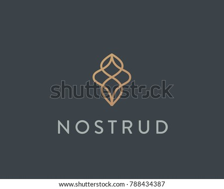 Abstract premium linear vector logotype. Motion wave flow logo symbol.