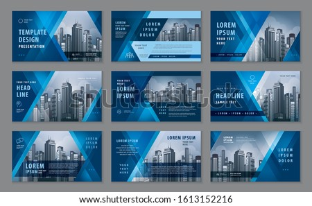 Abstract Presentation Templates, Abstract Geometric Blue Triangle vector, Infographic Template design set for Brochures, flyer, leaflet, magazine, invitation card, annual report, Web Banner, Booklet