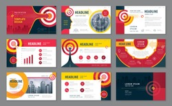 Abstract Presentation Templates Design Set, Infographic elements, Black And Red Abstract Arrow and Target vector, Path to the goal, Concept growth to success, Reach the target, Website design, Webpage