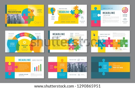 Abstract Presentation Templates, Infographic Colorful elements Template design set, Jigsaw puzzle pieces and Human head vector, Website Template design, Webpage, flyer, leaflet, Path to goal Concept