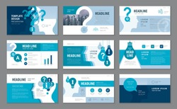 Abstract Presentation Templates, Infographic elements Template design set, Blue Human head with Light Bulb and Question Mark Background vector, Problem; trouble, Questions and Answers, information