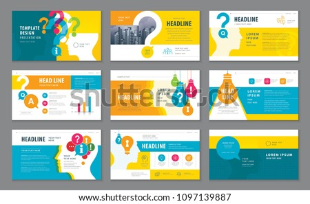 Abstract Presentation Templates, Infographic elements Template design set, Colorful Human head with Light Bulb and Question Mark Background vector, Problem; trouble, Questions and Answers, information