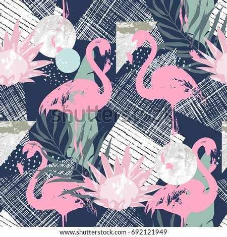 abstract print with  flamingo