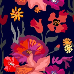 Abstract print with large poppies and tulips. Seamless vector pattern with colorful floral elements. Retro textile collection. On black background.