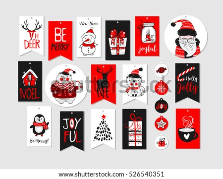 Abstract printable red tags collection for Christmas, New Year. Advent calendar. Vector illustration. Merry Holidays