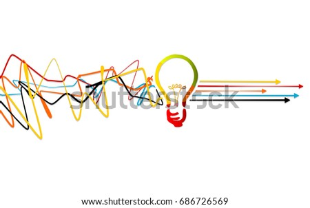 Abstract process solving, idea concept with light bulb over tangled lines with arrows pointing right