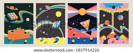 Abstract Psychedelic Space Illustration Set, Geometrical Shapes, Vintage Colors