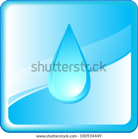 abstract pure symbol with blue water drop in frame