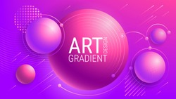 Abstract purple background. Geometric figures. Ultraviolet. Soft gradient tones. Colorful geometric pattern. Fashionable colors. Luminous translucent spheres. Image for screensavers, music festival