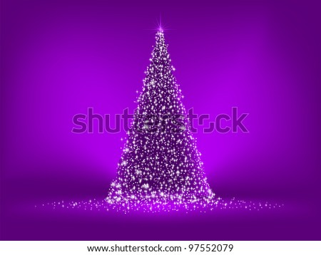 Abstract purple christmas tree on purple. EPS 8 vector file included