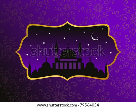 abstract purple creative artwork pattern background with mosque