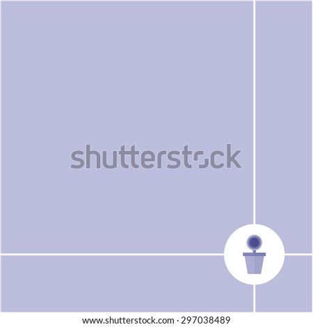 Abstract purple flower pot in circle on purple  background and have space for insert text, vector illustration