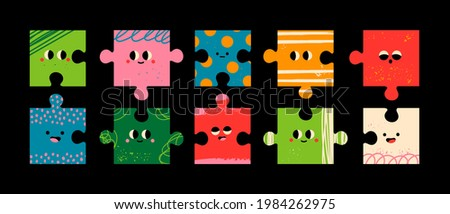 Abstract Puzzle creatures with Faces. Various Emotions. Different colored characters. Bright textures. Cartoon style. Flat design. Hand drawn trendy Vector illustration. Every face is isolated