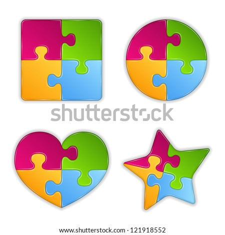 Abstract puzzle objects, design elements for your logo, vector eps10 illustration