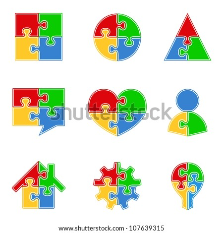 Abstract puzzle objects, vector eps10 illustration