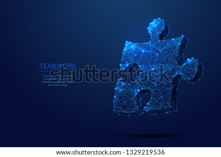 Abstract puzzle on dark blue background. Network or teamwork symbol composed of polygons. Low poly vector illustration of a starry sky or Cosmos, consists of lines, dots and shapes