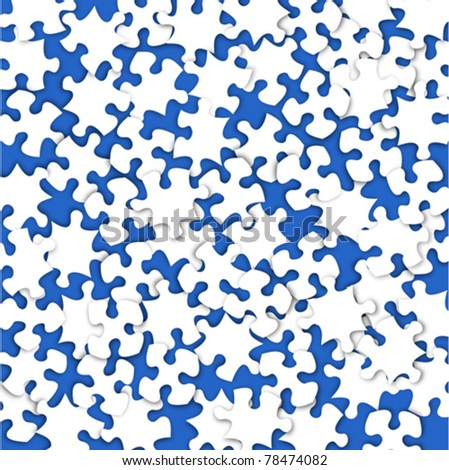 Abstract puzzle scatter on blue background