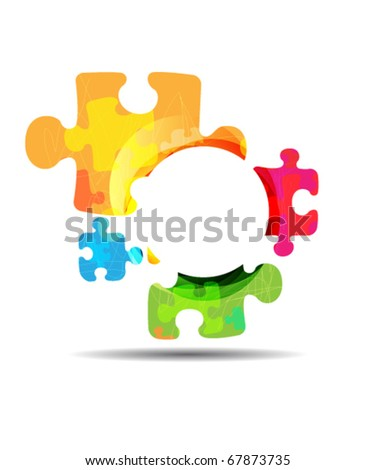 abstract puzzle shape colorful design.