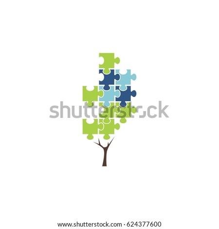 abstract puzzle tree icon logo