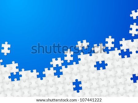 Abstract Puzzle with Blue background. Illustration for design