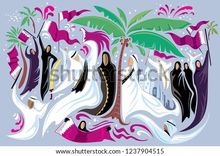 Abstract Qatar Art, National Day in Doha, People celebrating (Vector Art)