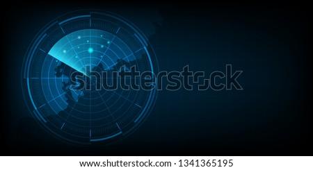 Abstract radar with targets, Digital realistic radar screen, Technology background, Vector illustration. Сток-фото ©