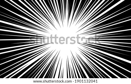 Abstract radial black line speed zoom for comic cartoon background vector illustration. Stock photo ©