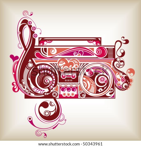 Abstract Radio with Music Note