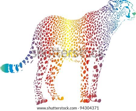 Abstract rainbow cheetah