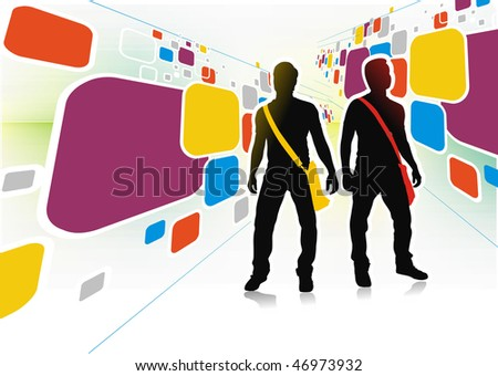 Abstract rainbow  color mosaic background with standing young boy silhouette. Vector illustration.