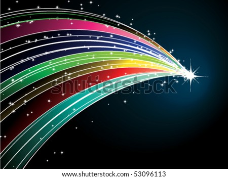 Abstract rainbow comet with stars