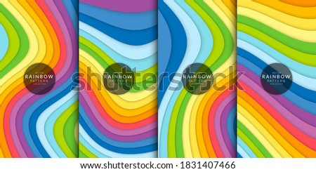 Abstract Rainbow Curved Background Combination Set. Rainbow curve background. Includes in this pack are illustration abstract wave rainbow vector background. Stock photo ©