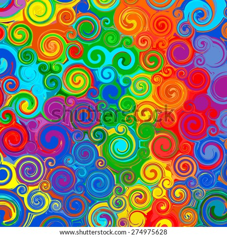abstract rainbow curved stripes