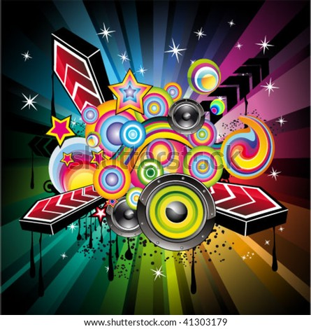 Abstract rainbow disco music background for event flyers vector