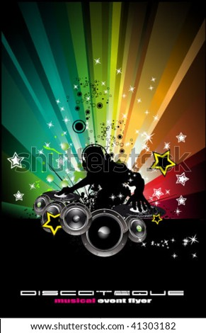 Abstract Rainbow Disco Music Background for  Event Flyers vector - stock vector
