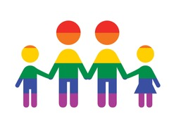 Abstract rainbow family holding hands vector. Group of rainbow people abstract icon vector. Colorful people figures standing in a row vector. LGBT symbol vector