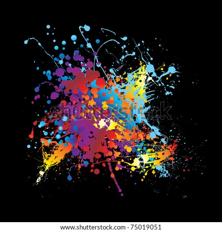 Abstract rainbow ink splat black background with room for text